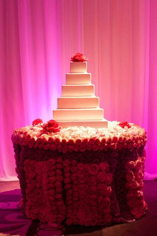 white-wedding-cake-with-pink-camellia-cake-topper