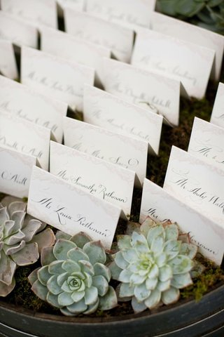 white-escort-cards-on-wine-barrel-in-moss