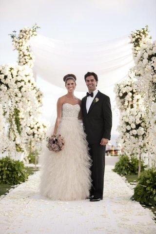 monique-lhuillier-bridal-gown-and-classic-tuxedo