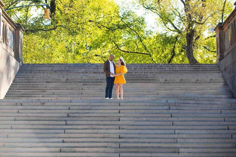 New York Engagement Photo on Stairs
