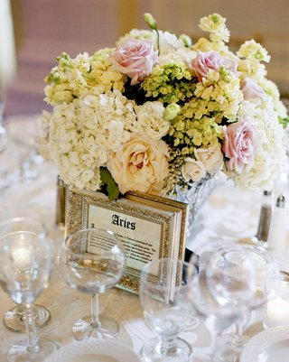 ivory-and-pink-flower-centerpiece-with-framed-table-name