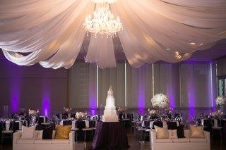 brendan haywood wedding reception nba cake table lounge furniture dance floor chandelier drapery