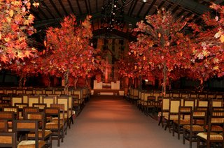 wedding-ceremony-decor-using-handmade-trees-with-leaves-in-fall-colors