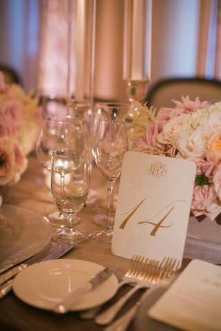 wedding-reception-white-and-gold-monogram-table-number