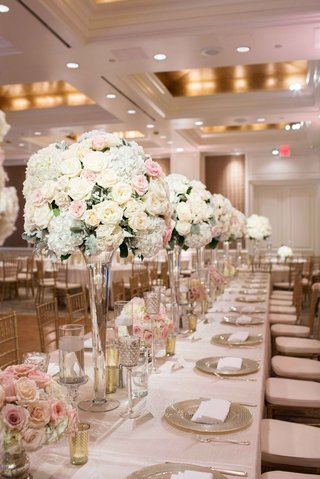 tall-small-floral-arrangements-white-pink-green-glass-vases-candles-gold-metallics-light-concept