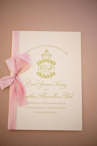 pink-and-gold-wedding-program-with-monogram
