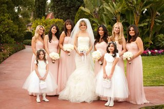 bride-with-flower-girls-and-bridesmaids-at-the-beverly-hills-hotel