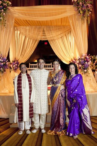 actress-reshma-shetty-groom-and-his-parents-at-her-indian-hindu-wedding