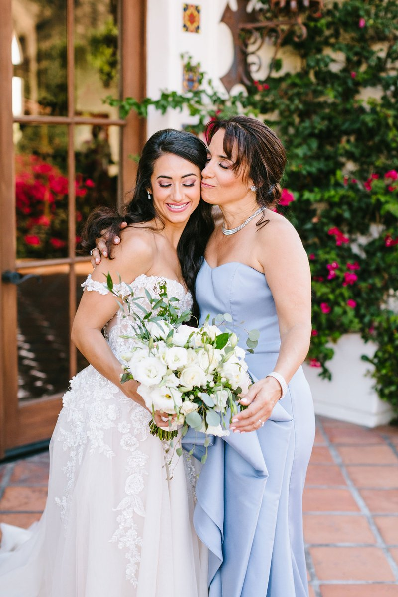 Bride with Mother in Pale Blue Gown