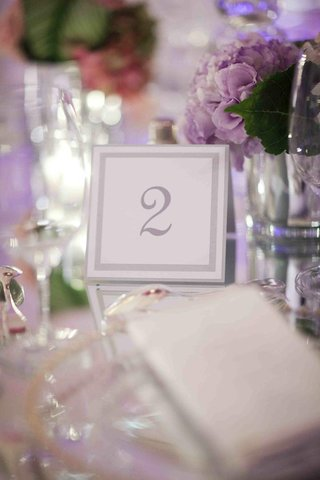white-table-number-with-metallic-border-on-mirror