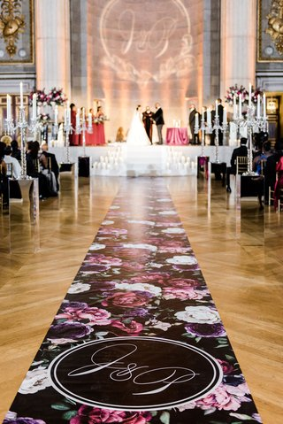 Custom Flower Print Aisle Runner the original runner company monogram black and purple