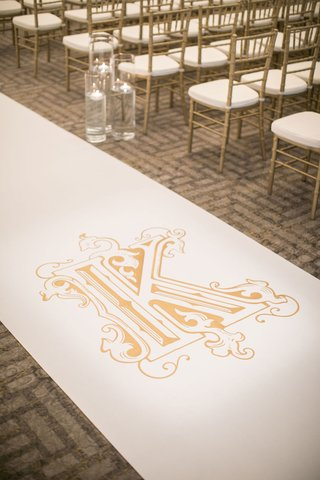 wedding-ceremony-gold-chiavari-chairs-floating-candles-white-aisle-runner-gold-monogram