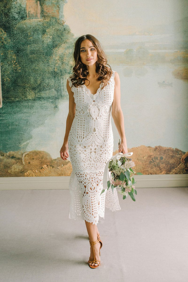 """Janis"" Lace Midi Dress by Claire Pettibone"
