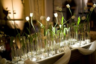 tulips-in-glass-vases-on-mantle-next-to-mirror