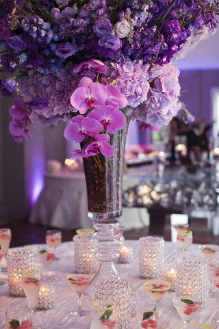 purple-orchid-flower-arrangement-on-drink-table