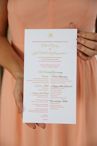 wedding-ceremony-program-with-a-starfish-gold-and-peach-print