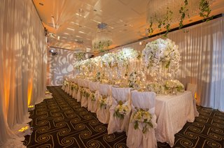 wedding-styled-shoot-lush-kings-table-with-orchids-patterned-lighting-on-drapery-walls