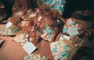 blue-pink-and-white-jordan-almonds-in-gold-and-brown-sheer-bags