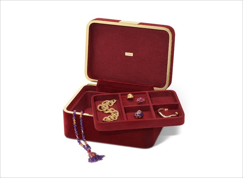 Aerin Beauvais Velvet Jewelry Box in Cinnabar