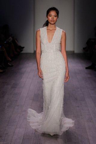lazaro-spring-2016-beaded-sheath-wedding-dress-with-deep-v-neck