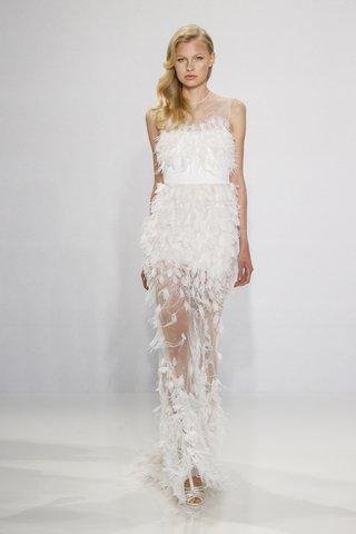 christian-siriano-for-kleinfeld-bridal-feather-wedding-dress-column-gown-sheer-skirt-high-neck