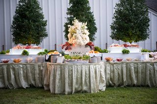 light-green-linens-on-seafood-buffet-table-for-outdoor-cocktail-hour-at-private-home