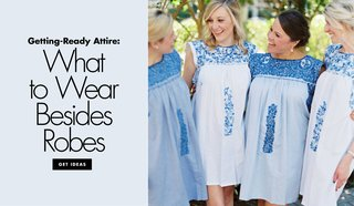 bridesmaid-getty-ready-outfit-alternatives-to-robes-shift-dress