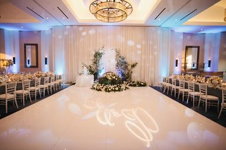 wedding-reception-ballroom-sweetheart-table-greenery-gobo-lighting-dance-floor-monogram
