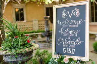 wedding-ceremony-framed-welcome-sign-chalkboard-with-calligraphy-modern-wedding-date-and-monogram