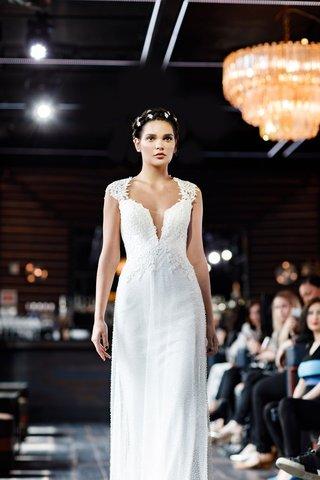 gemy-maalouf-2018-bridal-collection-wedding-dress-cap-sleeve-sheath-wedding-dress-v-neck-plunging