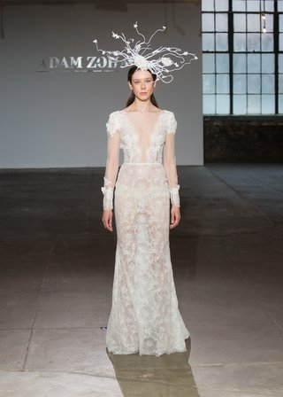 loren-by-adam-zohar-spring-2019-illusion-long-sleeves-on-sheer-lace-gown-with-plunging-neckline