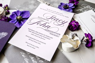 wedding-invitation-purple-script-silver-grey-envelope-white-calligraphy-elegant-simple-sophisticated