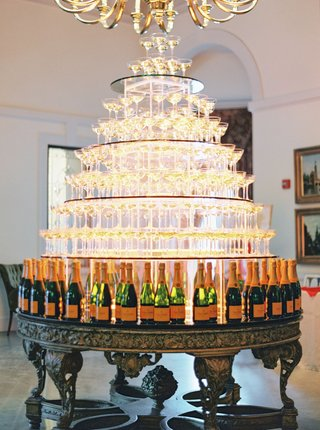 wedding-reception-cocktail-hour-tower-of-champagne-coupe-glasses-veuve-clicquot-bottles