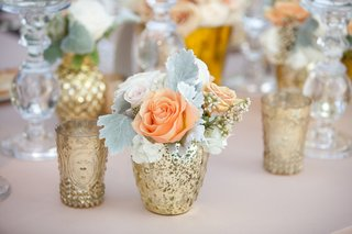 gold-bud-vases-with-peach-roses-and-lambs-ear