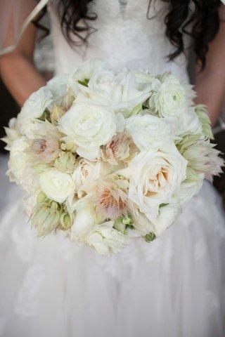 white-rose-pink-blushing-bride-protea-wedding-bouquet-monique-lhuillier-bridal-gown