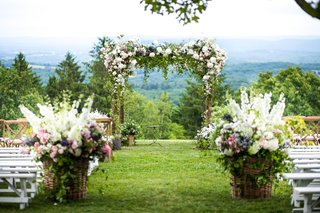 outdoor-wedding-ceremony-with-view-of-hudson-valley-white-bench-white-pink-purple-flowers-greenery