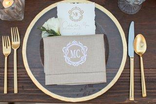 wedding-menu-torn-edge-paper-monogram-and-custom-hemstitch-napkin-linen-gold-charger-flatware-wood