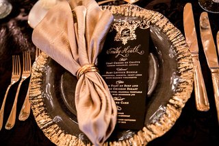 wedding-reception-black-and-gold-menu-card-ceci-new-york-black-with-gold-calligraphy-and-crest