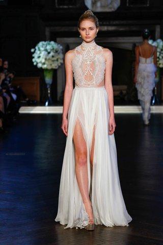 alon-livne-white-fall-2016-grecian-wedding-dress-with-high-neck-illusion-bodice-and-slit-skirt