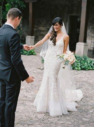 first-look-for-couple-destination-wedding-antigua-guatemala-bride-in-liancarlo-spanish-lace-dress