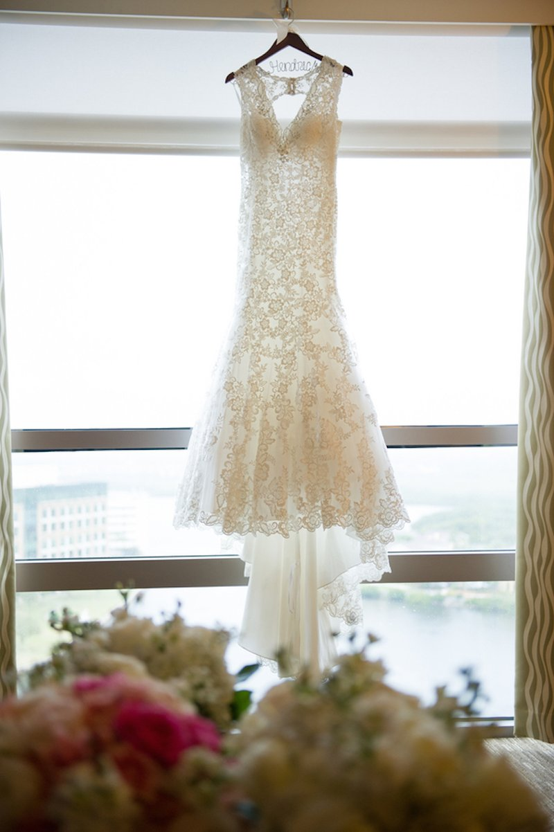 Floral Lace Bridal Gown on Hanger