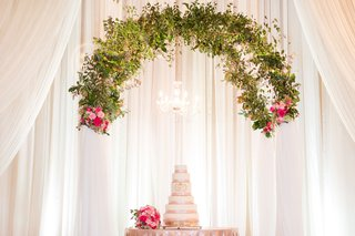 wedding-cake-table-with-chandelier-and-greenery-arch-overhead-white-drapery-pink-flowers