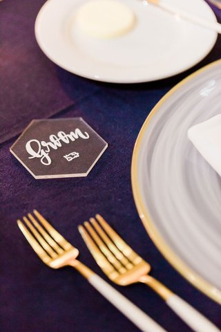wedding-reception-place-card-gold-white-forks-flatware-clear-lucite-place-card-calligraphy
