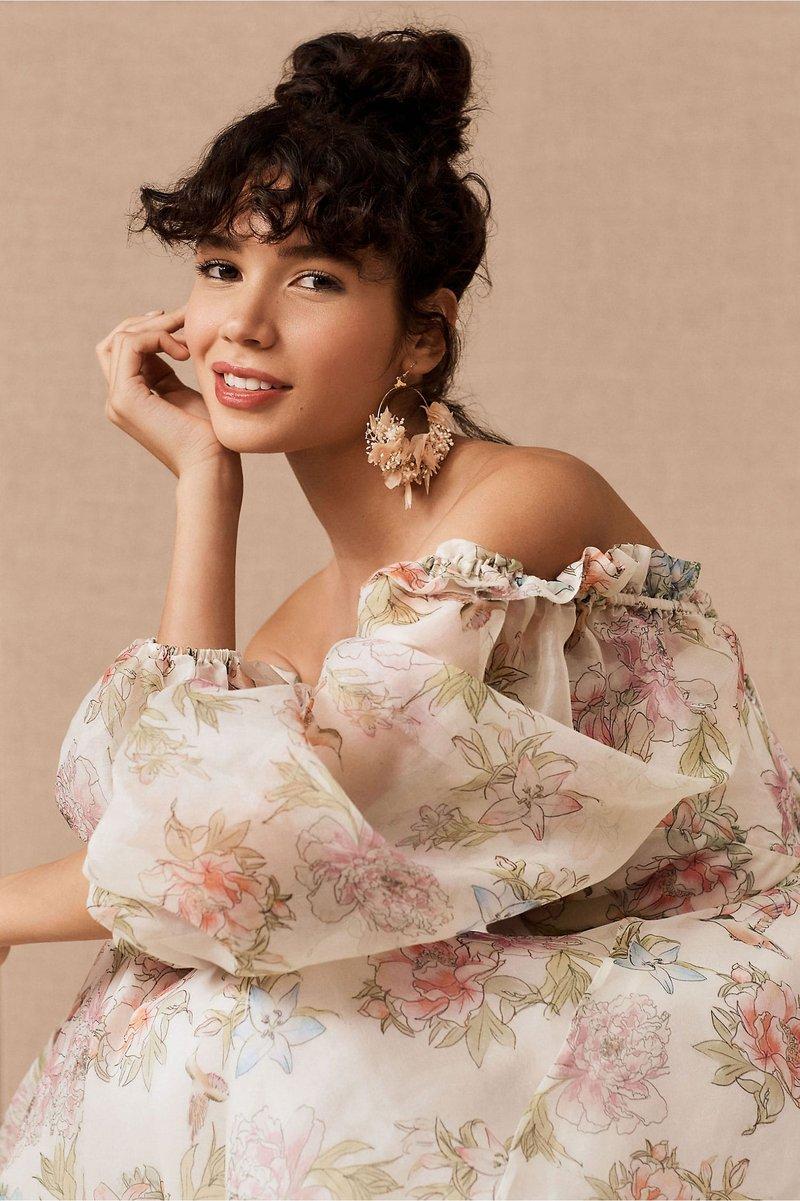 """Sylvie"" Flower-Print Wedding Dress"