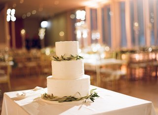 simple-three-tiered-white-wedding-cake-with-greenery-at-modern-wedding
