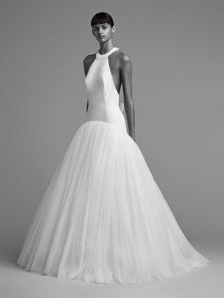 viktor-and-rolf-mariage-fall-winter-2018-wedding-dress-high-neck-drop-waist-full-skirt-low-back
