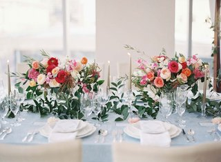A Charming Fete blue and pink wedding reception table decor