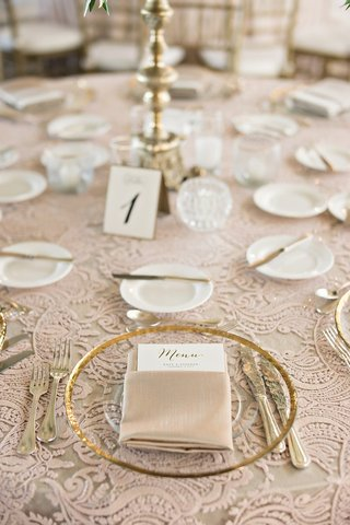 gold-rimmed-glass-chargers-gold-flatware-blush-linens