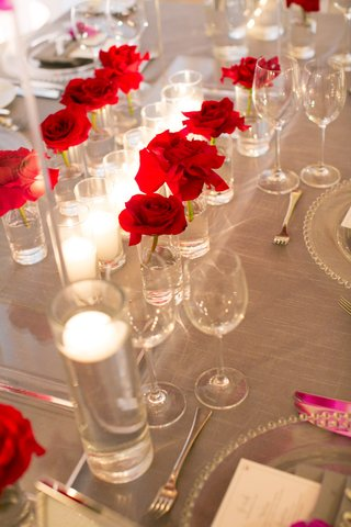 tablescape-single-red-roses-vases-gray-linens-wedding-reception-california-candles-simple-modern
