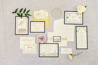 wedding-invitation-suite-with-drawing-illustrations-of-flowers-and-washington-dc-landmarks-sites